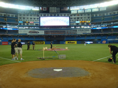 From behind home plate